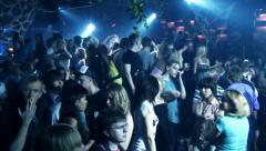 Crowd in nightclub. Hands up and dancing Stock Footage