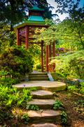 a red pagoda at the national arboretum in washington, dc. - stock photo