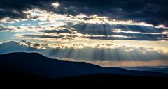 crepuscular rays over the appalachians, seen from skyline drive in shenandoah - stock photo