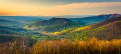 Early morning view of the appalachian mountains from skyline drive in shenand Stock Photos