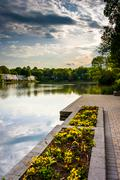garden and promenade along the shore of wilde lake, in columbia, maryland. - stock photo