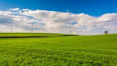 Grassy fields in rural york county, pennsylvania Stock Photos
