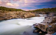 Stock Photo of long exposure at sunset of rapids at great falls park, virginia.