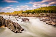Stock Photo of long exposure of rapids in the potomac river at great falls park, virginia.