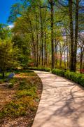 Path through gardens at the washington dc mormon temple in kensington, maryla Stock Photos
