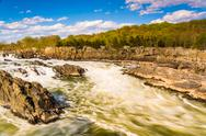 Stock Photo of rapids in the potomac river at great falls park, virginia.