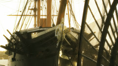 Ship figurehead on Historic HMS Warrior (wide SHOT) Stock Footage