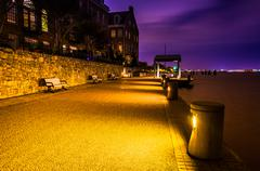 The waterfront at night in alexandria, virginia. Stock Photos