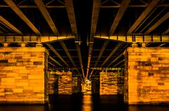 Stock Photo of under a bridge at night, in washington, dc.
