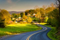 Windy country road in the shenandoah valley, virginia. Stock Photos