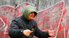 Man with broken glass beer bottle episode 2 Stock Footage