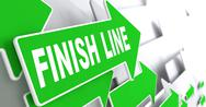 Stock Illustration of Finish Line on Green Direction Sign.