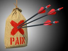 Pain - Arrows Hit in Red Mark Target. Stock Illustration