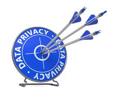 Data Privacy Concept. Three Arrows Hit in Blue Target. Stock Illustration