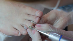 The process of creating a pedicure in the spa salon shot closeup Stock Footage
