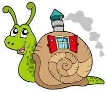 Snail with shell house - stock illustration