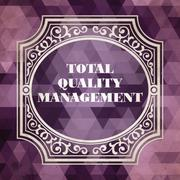 Total Quality Management Concept. Vintage design. - stock illustration