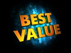 Best Value - Gold 3D Words. Stock Illustration