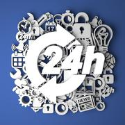 Icon 24 Hours on Handmade Paper Decoration. Service Concept. - stock illustration