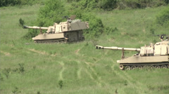 1-82 FA Paladins Tanks Move and Set Up Firing Point Stock Footage