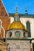 golden cupollain Wawel - stock photo