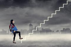 female student climbing the stair - stock illustration