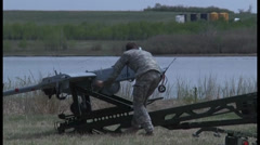 Members of the Utah National Guard conducts unmanned Arial vehicle training Stock Footage