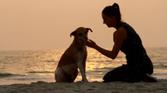 girl shaking hands with her dog - stock footage