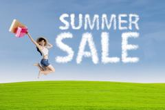 Happy woman with cloud of summer sale Stock Illustration