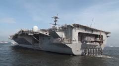 Aircraft Carrier USS George Washington (CVN 73) returning to port Stock Footage