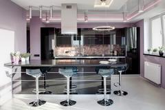 Interior of modern european kitchen Stock Photos