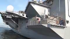 Aircraft Carrier USS George Washington (CVN 73) returning to port Stock Footage