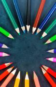 Colorful pencils in a circle Stock Photos