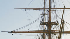 Historic HMS Warrior -close up mast Stock Footage