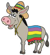 Mexican donkey with sombrero Stock Illustration