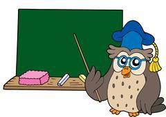 Owl teacher with blackboard Stock Illustration