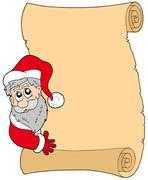Parchment with lurking Santa Claus - stock illustration