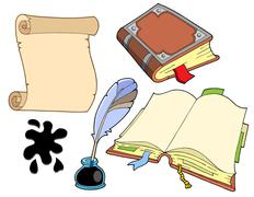Old books collection - stock illustration
