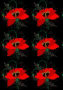 Stock Illustration of Poppies on a black seamless background