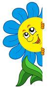 Lurking cartoon flower - stock illustration
