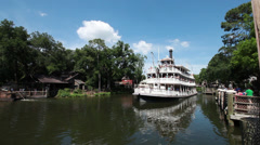 Stock Video Footage of Disney World Mark Twain Riverboat 3