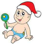 Christmas baby with rattle - stock illustration