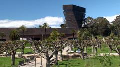 Types of Golden Gate Park. De Young fine arts museum. Stock Footage