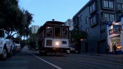 Cable Car at San Francisco night. California, USA. Stock Footage