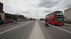 London Red Bus, Road Traffic, Buses, Motorbikes Stock Footage