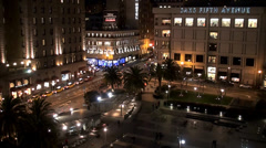 Union Square at night as seen from the top floor of the Macy's store. Stock Footage