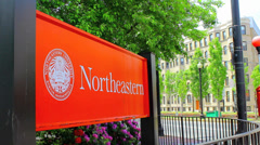 Northeastern University Campus Sign Stock Footage
