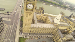 Camera Flying above the House of Parliament Stock Footage