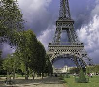 Thunderstorm approaching Eiffel Tower, Paris Stock Photos