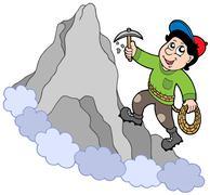 Rock climber on mountain Stock Illustration